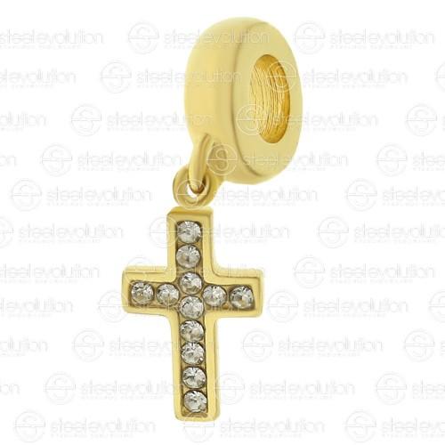 Бусина подвеска шарм для браслета медицинская сталь Золотой крест