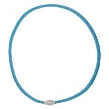 Голубой шнурок на шею из плетеной кожи