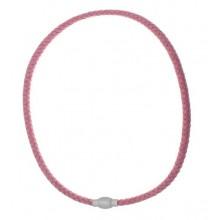 Розовый шнурок из натуральной плетеной кожи
