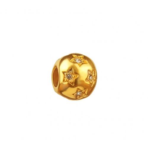 Бусина шарм для браслета медицинская сталь Звезды золото