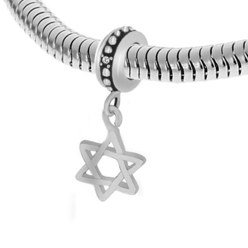 Бусина подвеска шарм для браслета медицинская сталь Звезда Давида