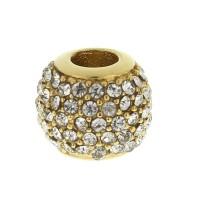 Бусина шарм для браслета медицинская сталь с белыми циркониями золото