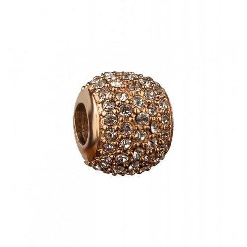 Бусина шарм для браслета медицинская сталь с белыми циркониями розовое золото