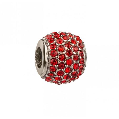 Бусина шарм для браслета медицинская сталь с красными циркониями