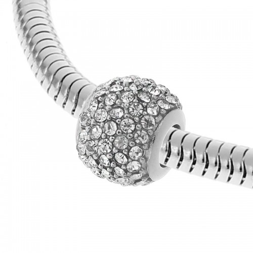 Бусина шарм для браслета медицинская сталь с белыми циркониями