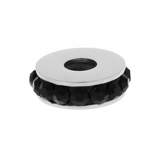 Бусина шарм для браслета медицинская сталь с черными фианитами