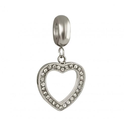 Бусина подвеска шарм для браслета медицинская сталь Сердце с кристаллами