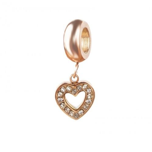 Бусина подвеска шарм для браслета медицинская сталь Сердце розовое золото