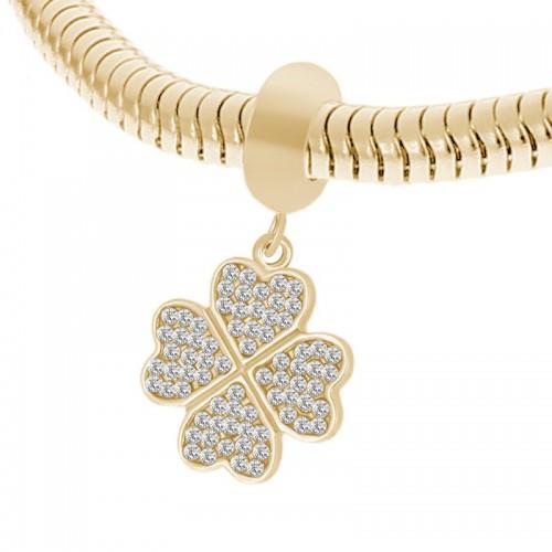 Бусина подвеска шарм для браслета медицинская сталь Клевер золото