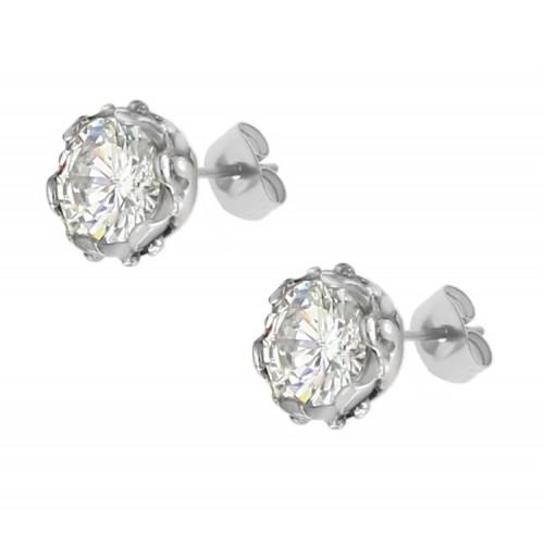 Женские серьги-гвоздики из медицинской стали с кристаллом циркония