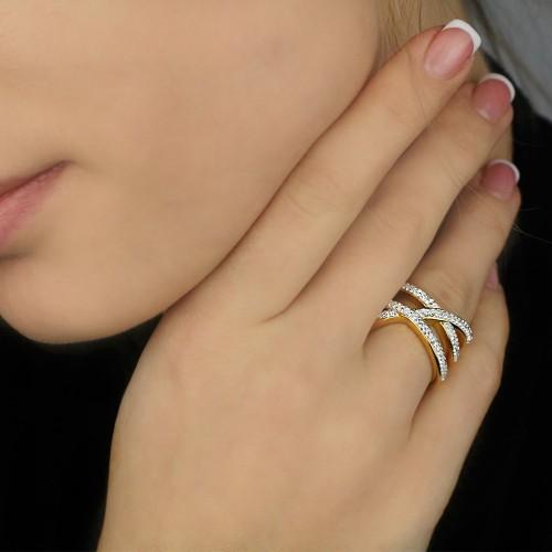 Женское кольцо из стали с циркониями Либуше