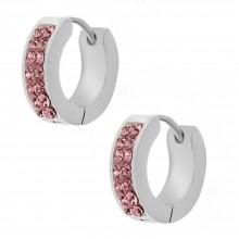 Серьги-кольца с кристаллами Swarovski светло-розового цвета