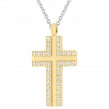 Стальной крестик на шею с PVD покрытием под золото