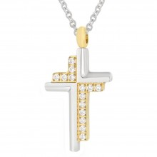Кулон крест из комбинированной медицинской стали с кристаллами