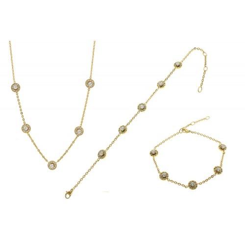 Женский комплект из ювелирной стали (подвеска и браслет) Анаис