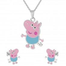 Набор детской бижутерии из нержавеющей стали (подвеска и сережки-гвоздики) Веселая Свинка