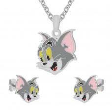 Тематический комплект украшений для девочки (кулон с цепочкой и сережки) Серый Котик