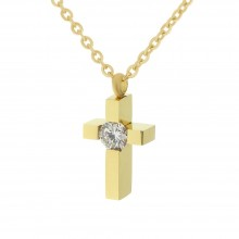 Крестик декоративный для женщин из стали с кристаллом