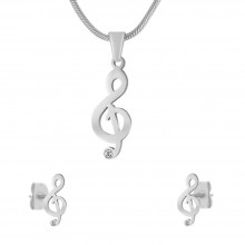 Тематический гарнитур украшений мед сталь (подвеска с кулоном и серьги) Скрипичный ключ