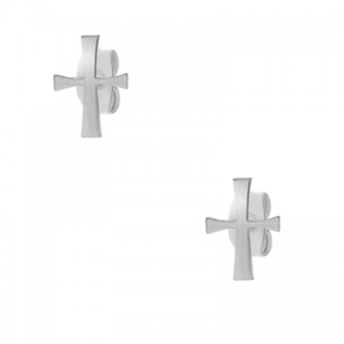 Женский комплект из хирургической стали (серьги и кулон с цепочкой) Крест