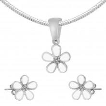 Женский комплект украшений из медицинской стали и эмали (подвеска + серьги) Белый цветок