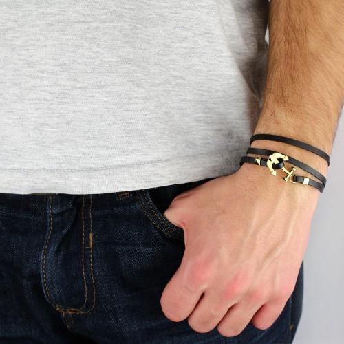 Кожаный браслет с якорем БС-2938
