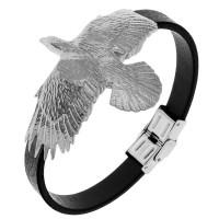 Стильный мужской кожаный браслет стальной орел