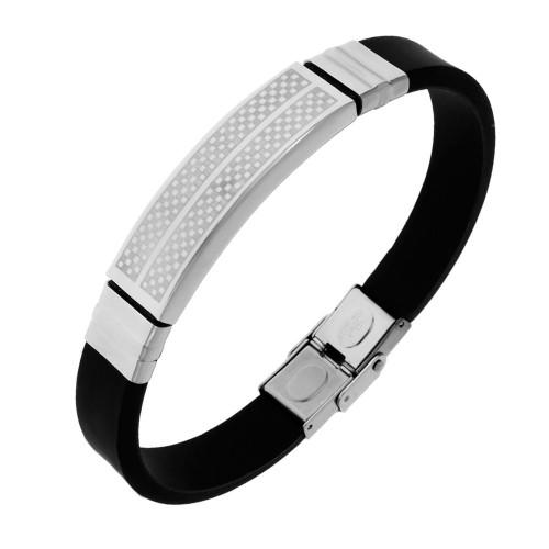 Каучуковый браслет для мужчин со стальной застежкой