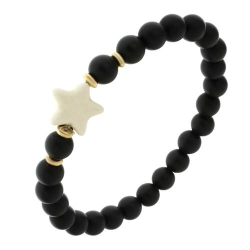 Эластичный браслет-бусы из натурального камня Звезда