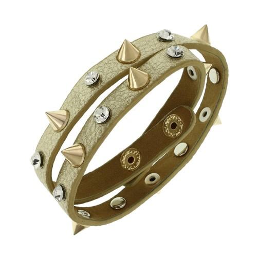 Кожаный браслет с шипами золотой