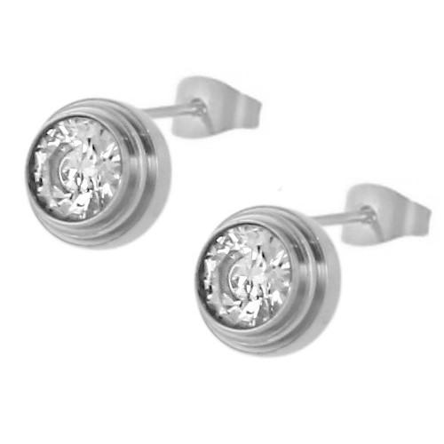 Женские сережки-гвоздики из ювелирного сплава круглой формы с кристаллом циркония