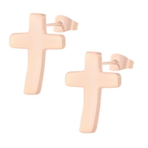 Женские серьги-гвоздики в форме крестика из медицинской стали PVD покрытие под розовое золото