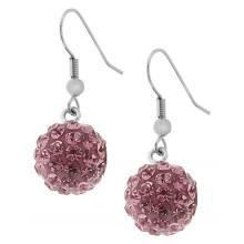 Длинные серьги-шарики из стали с кристаллами светло-розового цвета
