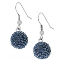 Сережки-висюльки в форме шариков с кристаллами голубого цвета