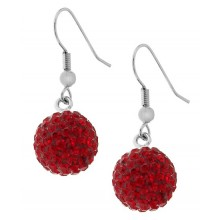 Стальные серьги из стали в форме шариков с кристаллами красного цвета