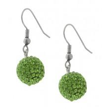 Женские серьги-шарики из стали с кристаллами светло-зеленого цвета