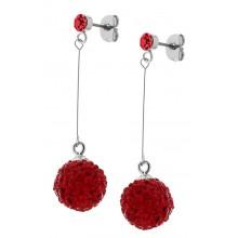 Серьги-шарики из стали застежка-пусет с кристаллами красного цвета