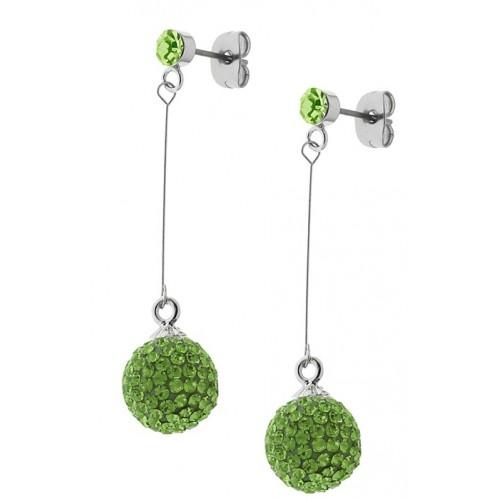 Длинные сережки из стали с застежкой-пусет и кристаллами светло-зеленого цвета