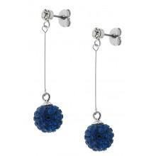 Эффектные серьги-шарики из медицинской стали с кристаллами синего цвета