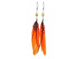 Серьги с перьями ярко-оранжевого цвета