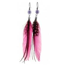 Серьги с перьями ярко-розового цвета
