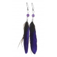 Серьги с перьями темно-фиолетового цвета