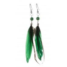 Серьги с перьями ярко-зеленого цвета