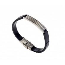 Чоловічий каучуковий браслет із сталевими елементами