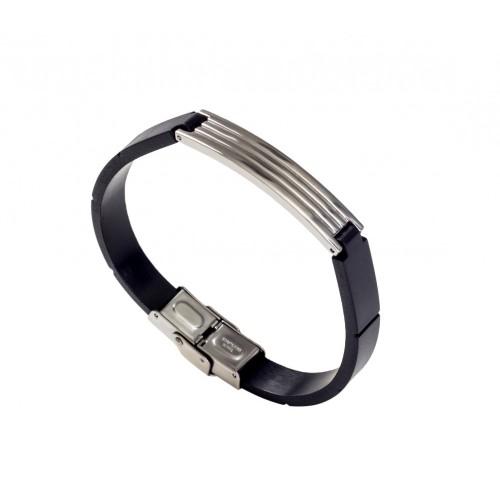 Мужской каучуковый браслет со стальными элементами