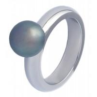 Кольцо из стали и жемчуга КС-1027