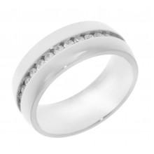 Кольцо металлическое из медицинской стали с циркониями женское 8 мм
