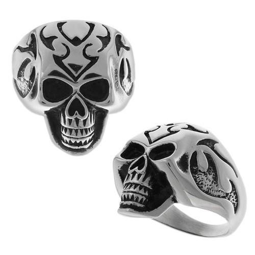 Байкерское кольцо из стали в виде стилизованного черепа