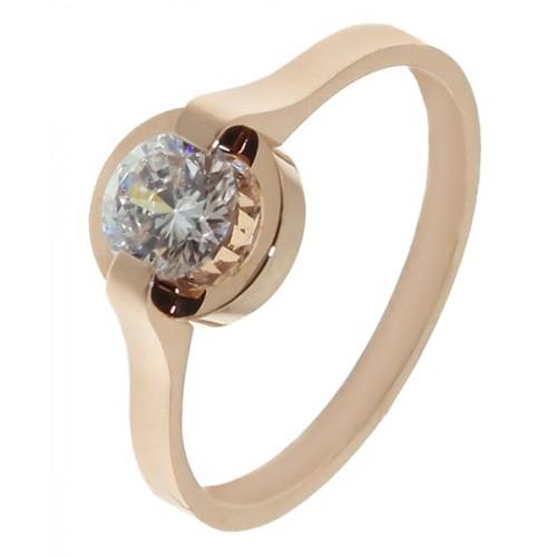 Кольцо для помолвки из медицинского сплава под розовое золото Эмилия