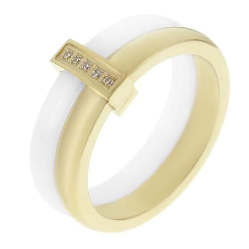 Керамическое белое кольцо с кристаллами и стальными элементами Луара